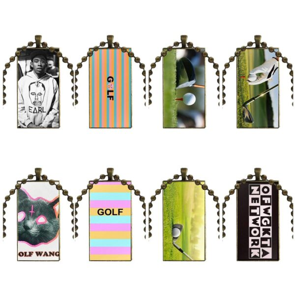 Golf Wang For Girls Maxi Design Fashion Glass Rectangle Necklace